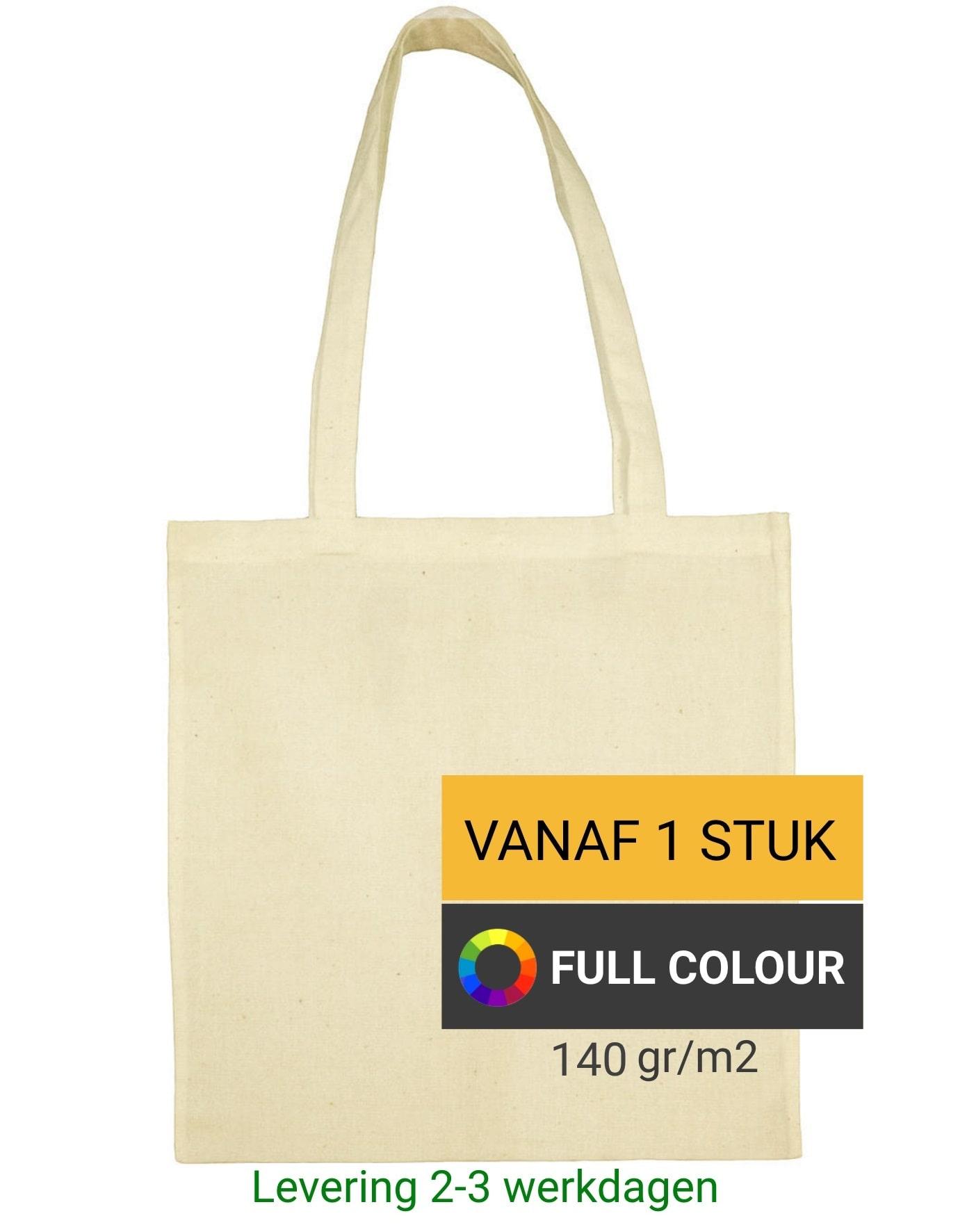 2aba74faa98 Full colour katoenen tas bedrukken vanaf 1 stuk   lange hengels   Kleine  oplage