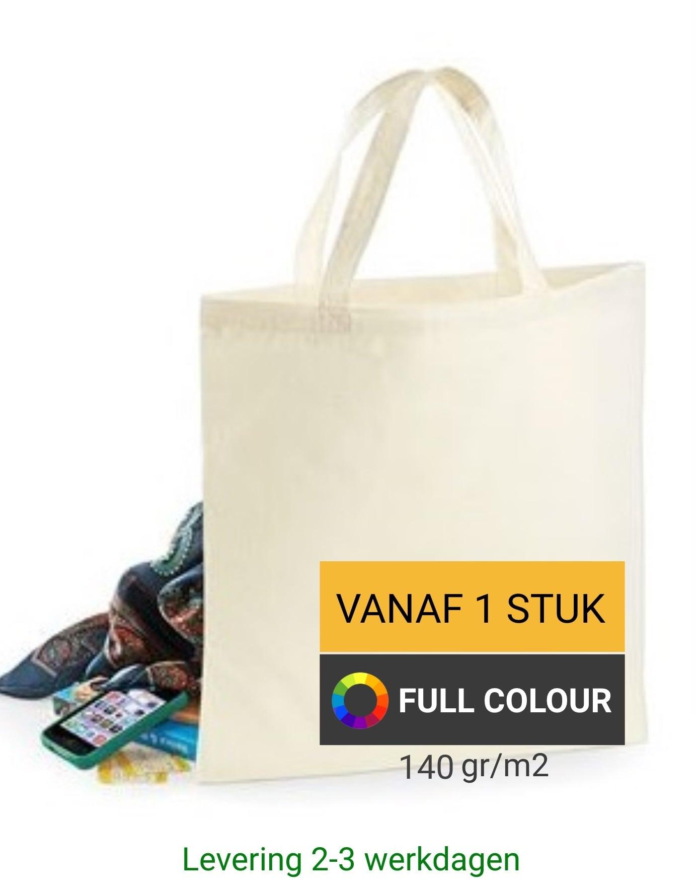 938917b74e2 Full colour katoenen tas bedrukken vanaf 1 stuk | korte hengels | Kleine  oplage