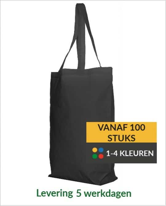 katoenen shopper zwart